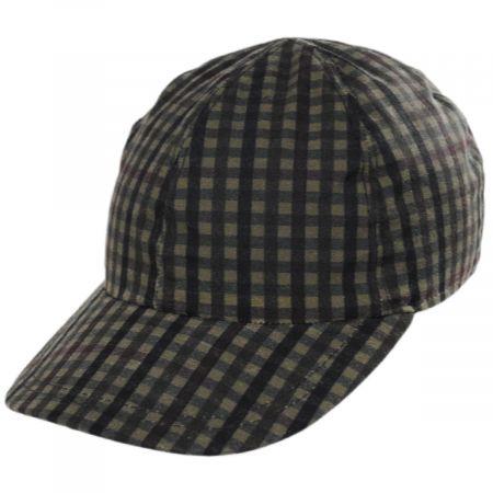 Stefeno Larry Checkered British Millerain Wax Cotton Earflap Baseball Cap