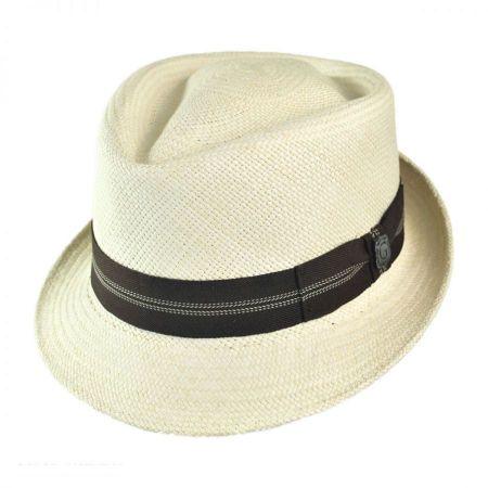 Bigalli Panama Straw Diamond Crown Fedora Hat