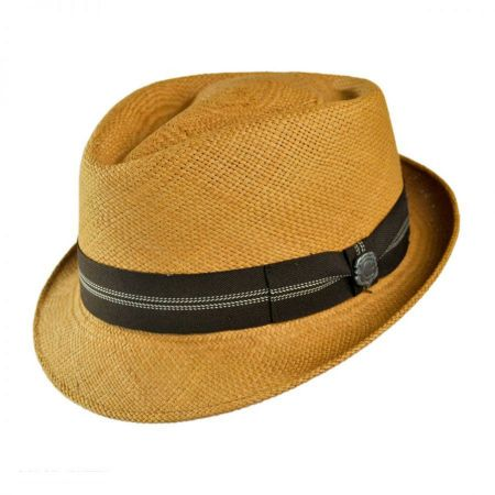 Bigalli Panama Straw Diamond Crown Fedora Hat