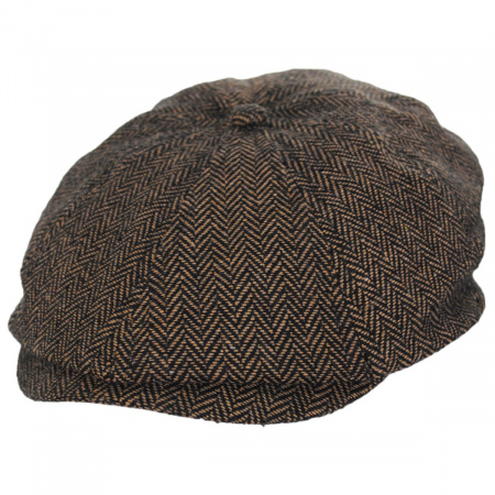 Brixton Hats Brood Herringbone Wool Blend Newsboy Cap - Brown/Khaki