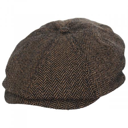 Brixton Hats Brood Herringbone Wool Blend Newsboy Cap - Brown/Khaki