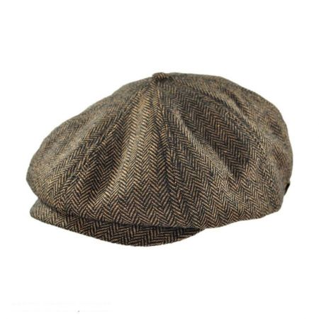 Brood Herringbone Wool Blend Newsboy Cap - Brown/Khaki alternate view 6