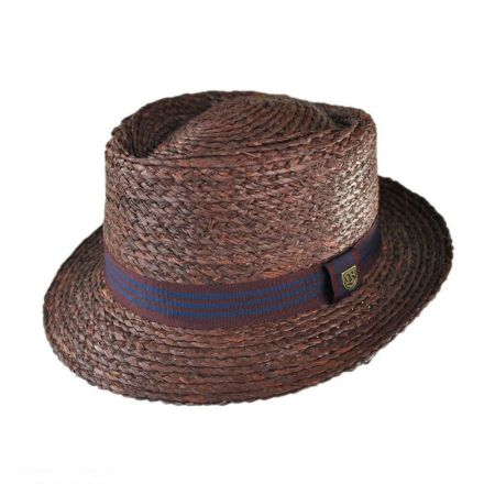Brixton Hats Delta Diamond Crown Pork Pie Straw Hat