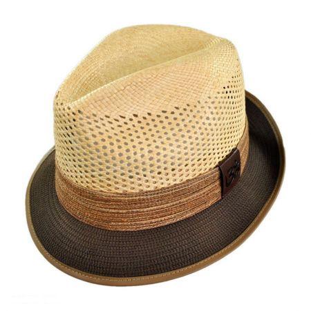Carlos Santana Devadip Panama Straw Vent Crown Fedora Hat