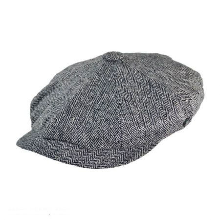 City Sport Caps Herringbone Silk Newsboy Cap - Black/Grey