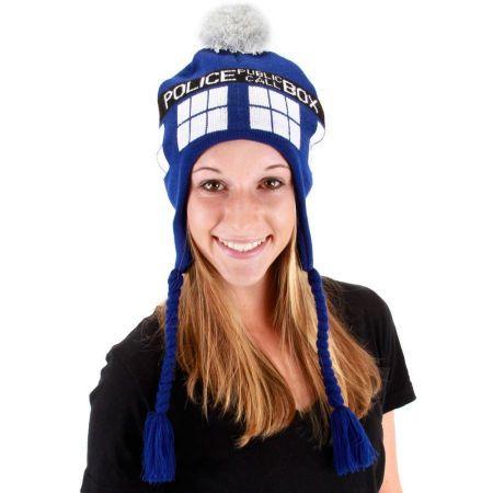 Dr. Who TARDIS Knit Acrylic Peruvian Beanie Hat