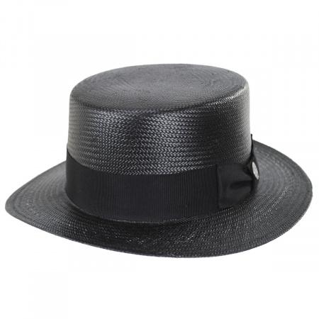 Keeneland Shantung Tonal Straw Skimmer Hat
