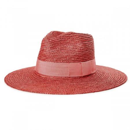 Joanna Red Wheat Straw Fedora Hat