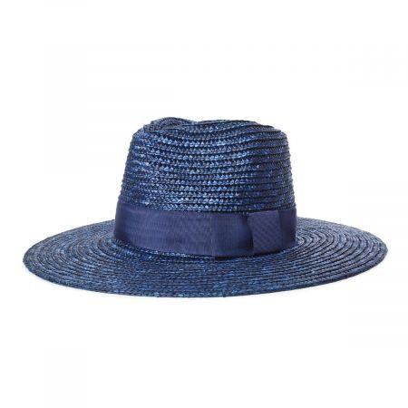 Joanna Navy Blue Wheat Straw Fedora Hat