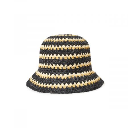Brixton Hats Essex Crochet Raffia Straw Bucket Hat
