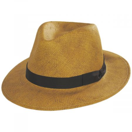 Stefeno Cannes Toffee Toyo Straw Fedora Hat