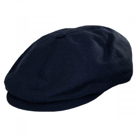 Stefeno Holmes Navy Blue Linen Newsboy Cap