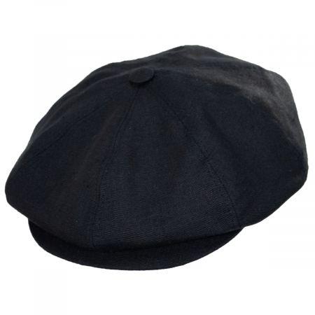 Stefeno Holmes Black Linen Newsboy Cap