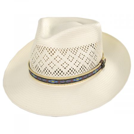 Mondrian Handwoven Shantung Straw Fedora Hat