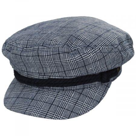 Brixton Hats Plaid Linen and Cotton Blend Fiddler Cap