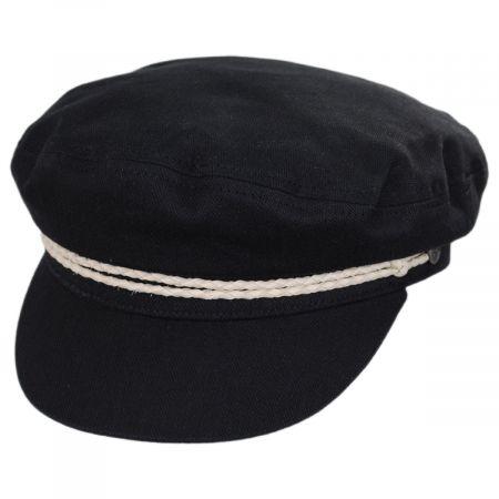 Ashland Herringbone Black/Ivory Cotton Fiddler Cap