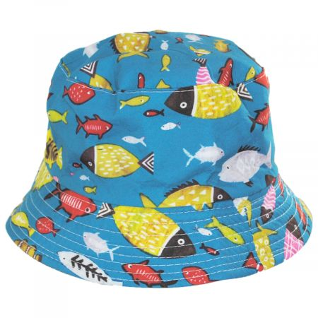 Jeanne Simmons Kid's Fish Reversible Cotton Bucket Hat