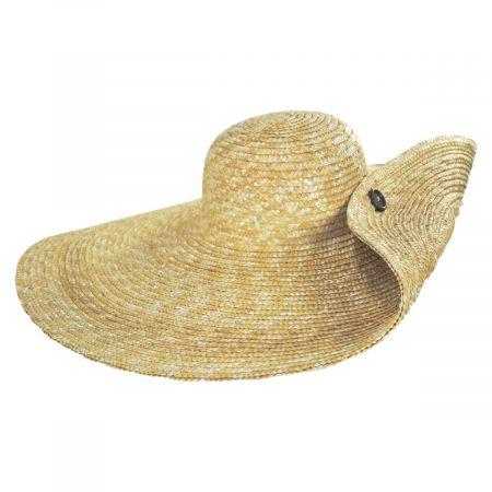 Side Button Braided Straw Swinger Hat