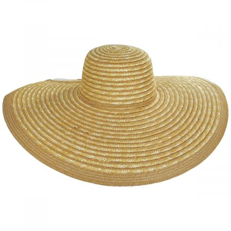 Striped Braided Straw Wide Brim Swinger Hat