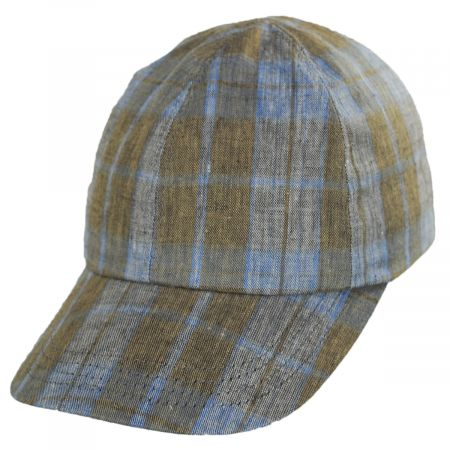 Stefeno Angel Plaid Six-Panel Linen Fitted Baseball Cap