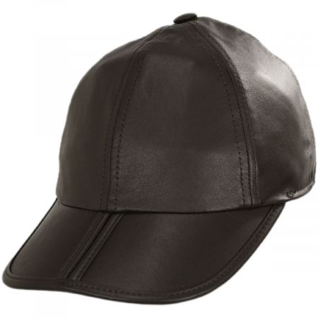 Stefeno Split Bill Earflap Brown Leather Ball Cap