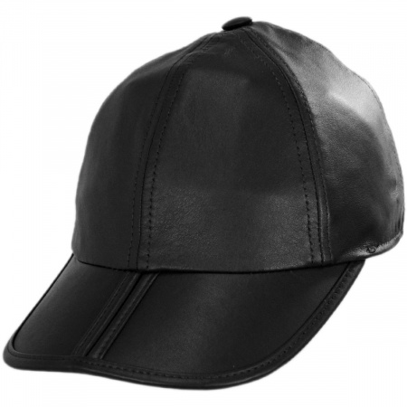 Split Bill Earflap Black Leather Ball Cap