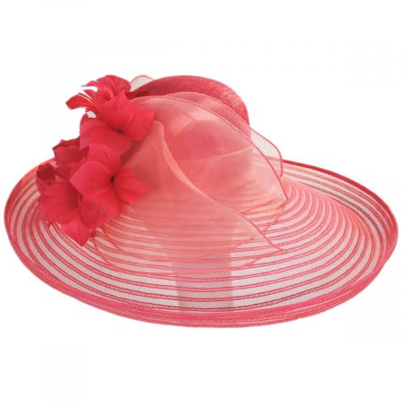 Flor Dela Mar Sinamay Straw Wide Brim Boater Hat