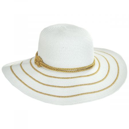 Jeanne Simmons Metallic Sailor Knot Striped Straw Sun Hat