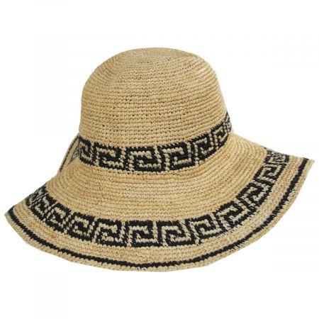 Greek Key Crochet Raffia Straw Sun Hat