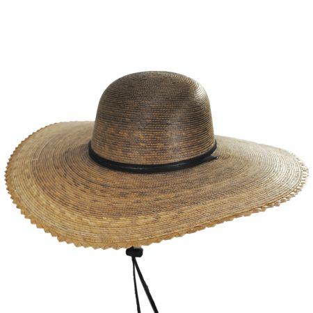 Palm Straw Scallop Brim Swinger Hat
