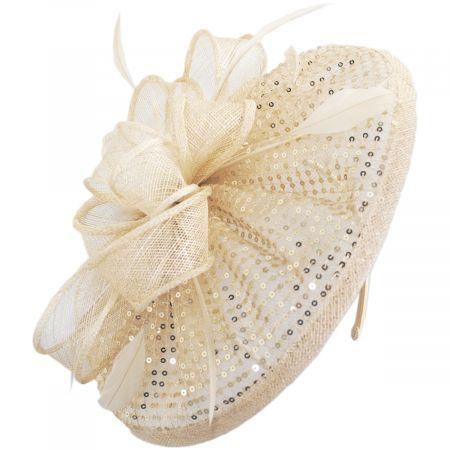 Scala Cane Run Sequin Sinamay Straw Fascinator Headband