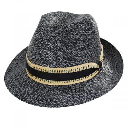 Monet Tweed Straw Braid Fedora Hat