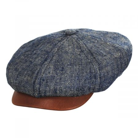 Linen, Silk, and Leather Newsboy Cap