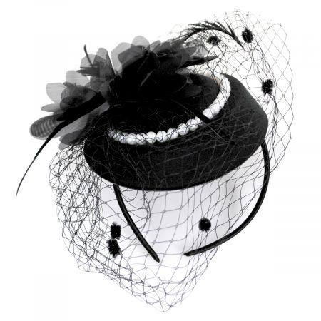 Jeanne Simmons Velvet and Pearl Fascinator Hat