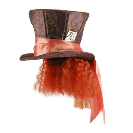 Alice in Wonderland Mad Hatter Top Hat with Hair