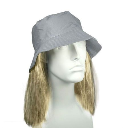 Grey Bucket Hat with Hair