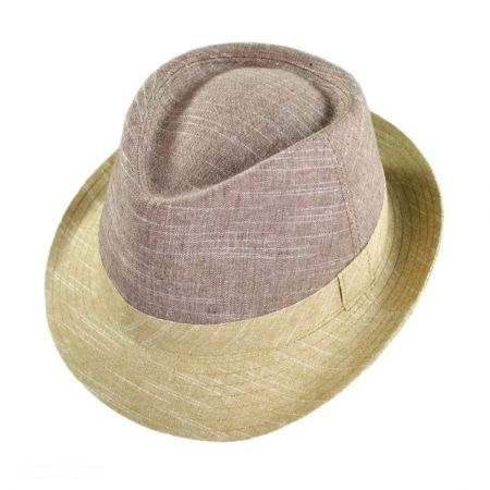 Geoffrey Beene Color Block C-Crown Linen Fedora Hat