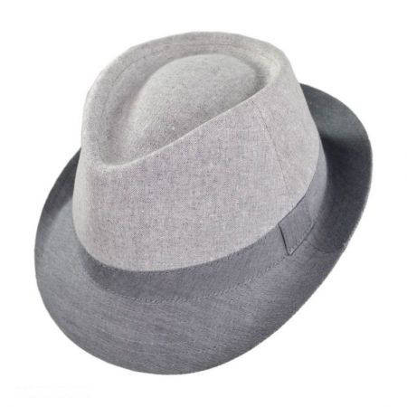 Color Block C-Crown Linen Fedora Hat