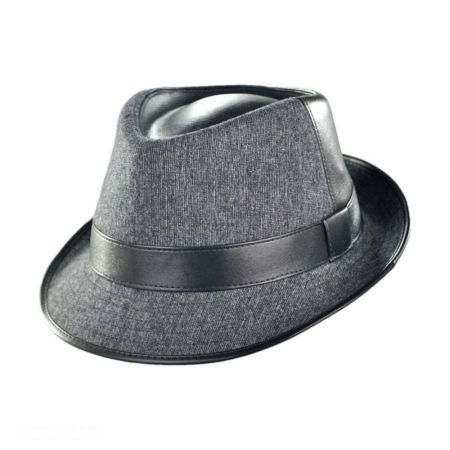 Geoffrey Beene Wool and Pleather Fedora Hat