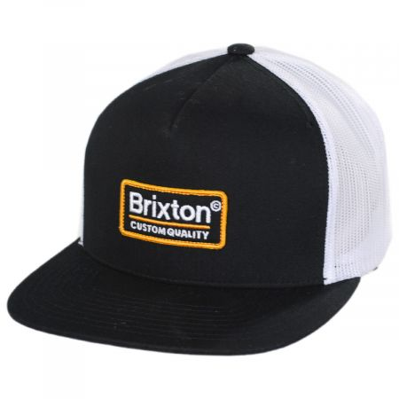 Brixton Hats Black and White Palmer Mesh Trucker Snapback Baseball Cap