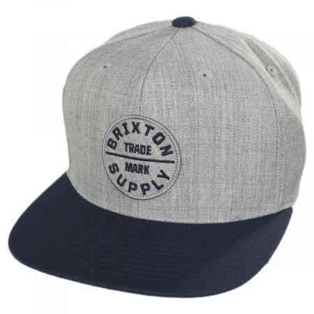 Brixton Hats Oath III Gray and Navy Snapback Baseball Cap