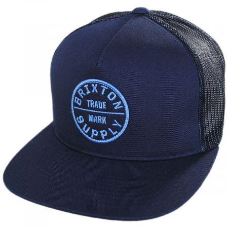 Brixton Hats Oath III Navy Wash Mesh Trucker Snapback Baseball Cap