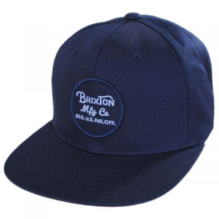 Brixton Hats Wheeler Navy Wash Snapback Baseball Cap
