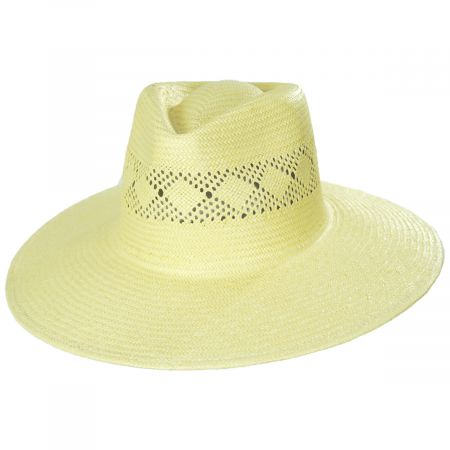 Joanna Toyo Straw Vented Crown Fedora Hat
