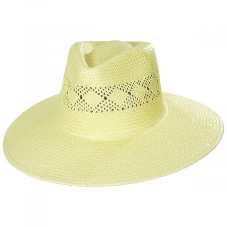 Joanna Toyo Straw Vented Crown Fedora Hat