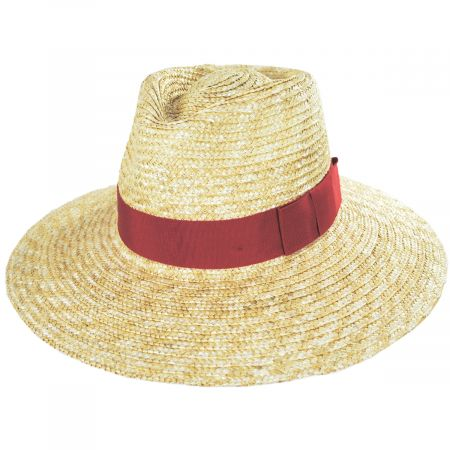 Joanna Natural/Red Wheat Straw Fedora Hat