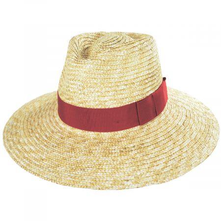 Brixton Hats Joanna Natural/Red Wheat Straw Fedora Hat