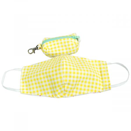 Village Hat Shop Yellow Gingham Filter Pocket Cotton Face Cover + Pouch