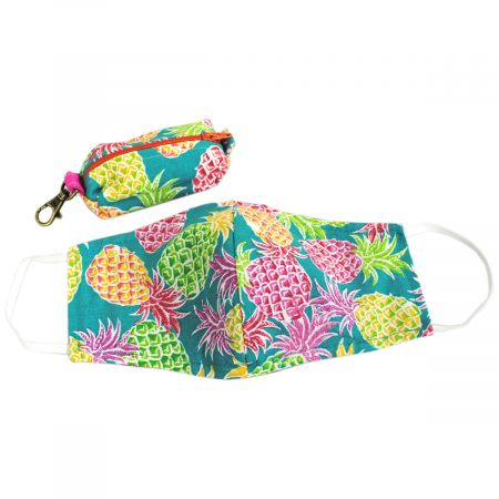 Multi Pineapple Cotton Face Cover + Pouch