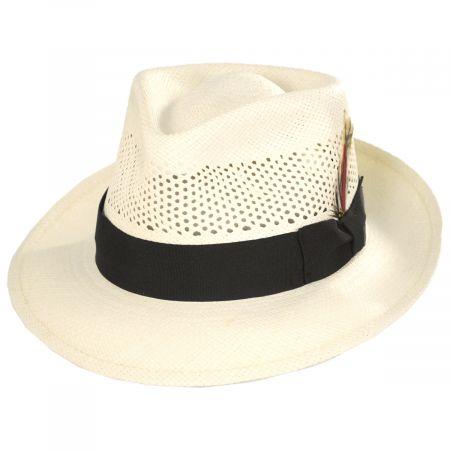 Vented Crown Panama Straw Fedora Hat alternate view 9
